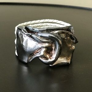 Jewelry - Silver and Leather Rope Bracelet from Greece